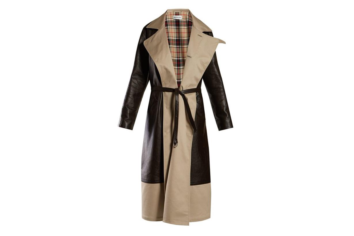 Balenciaga Bi-colour Tie-waist Leather and Canvas Coat