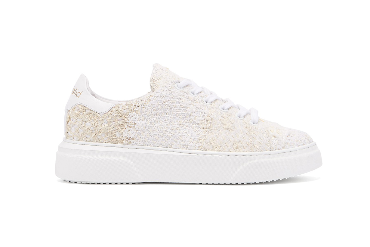 By Walid 19th Century French Lace Low-Top Trainers