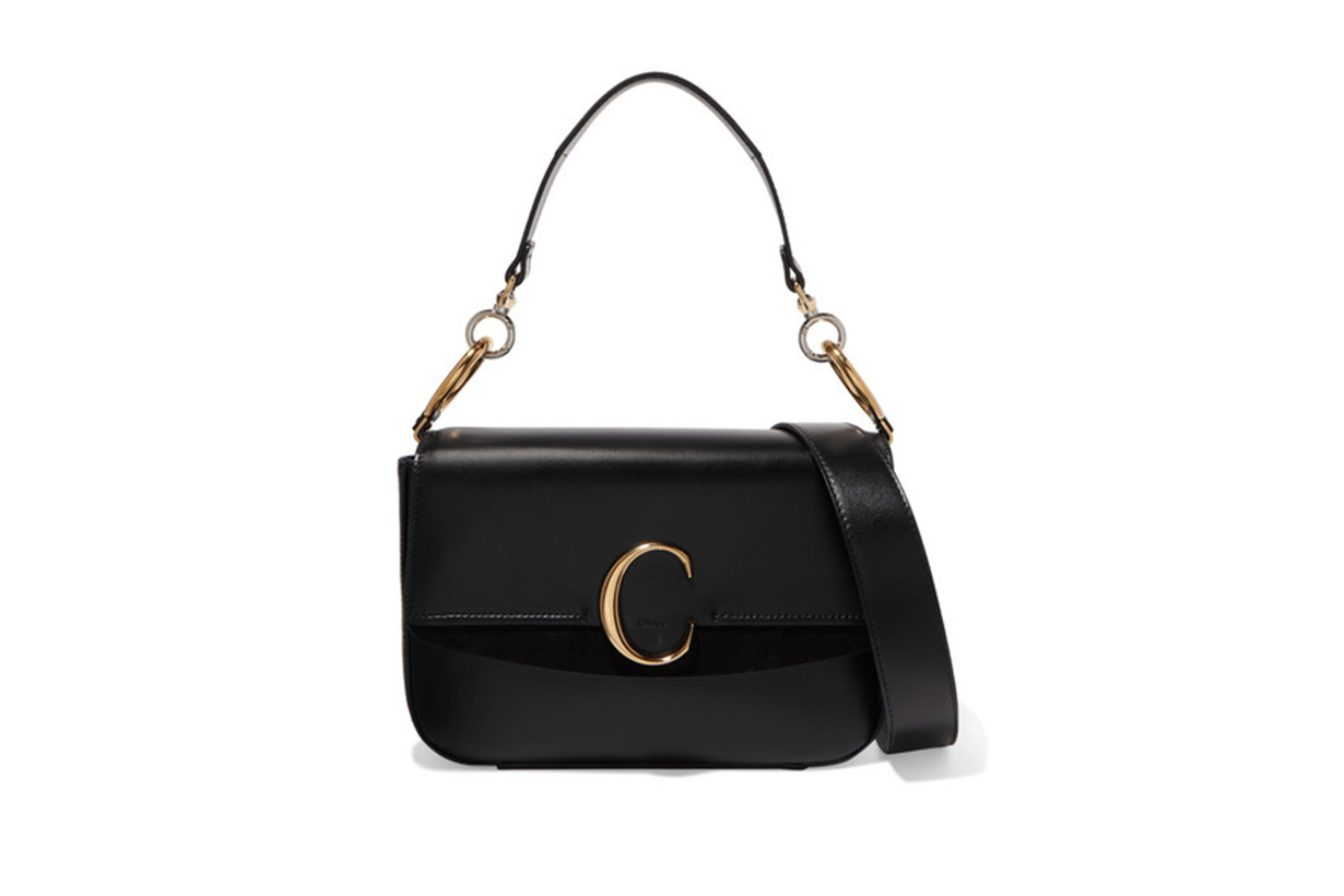 Chloé C Medium Suede-trimmed Leather Shoulder Bag