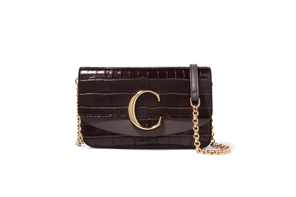 Chloé Chloé C Mini Croc-effect and Smooth Leather Shoulder Bag