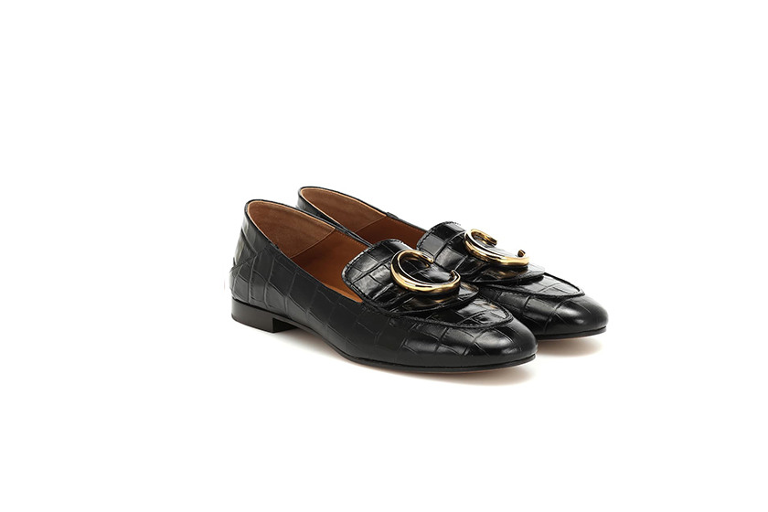 Chloé Embossed Leather Loafers