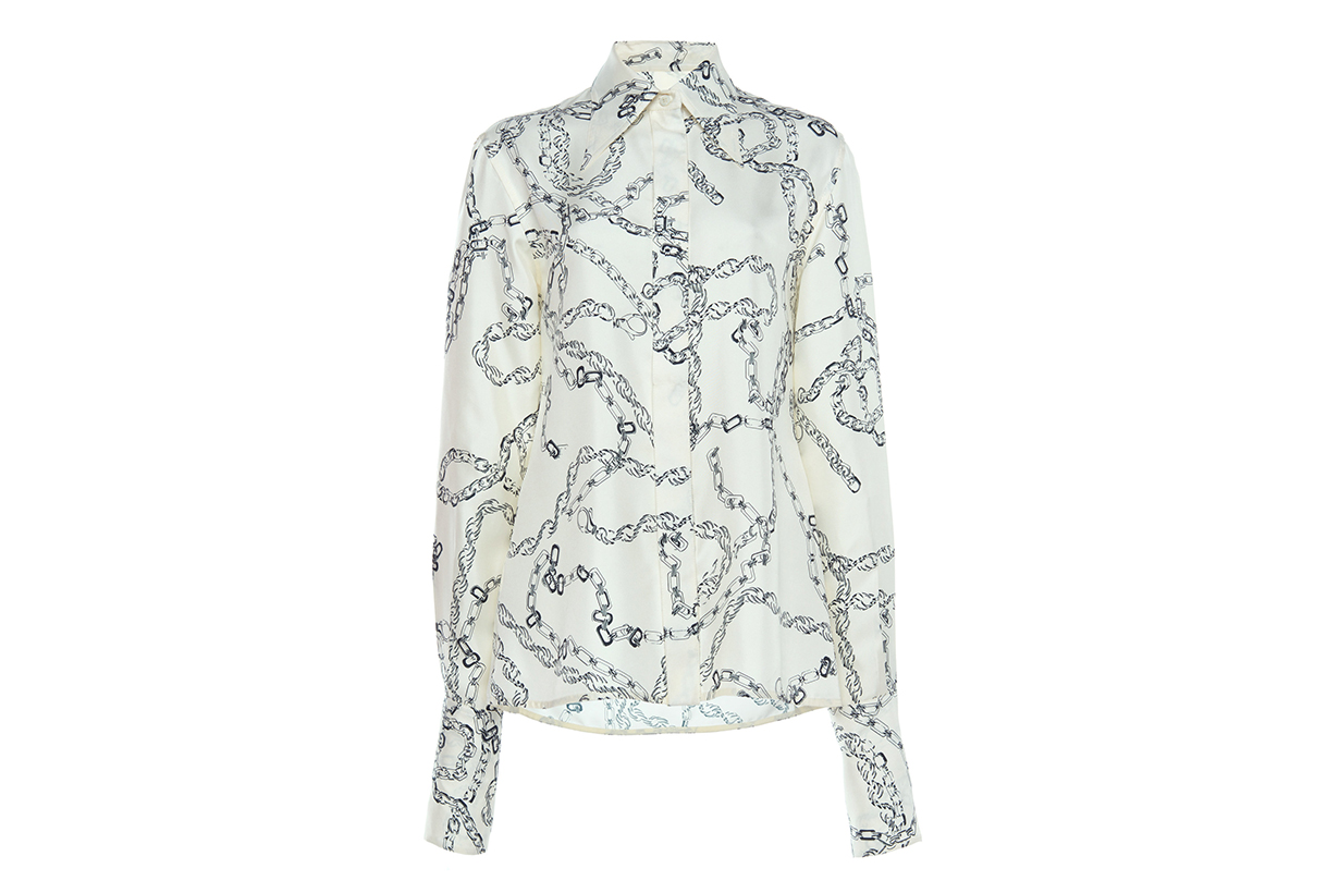 Victoria Beckham Chain-Link Print Silk Crepe Blouse