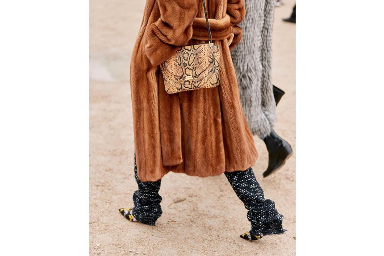 Croc-effect Handbag Boots Street Style