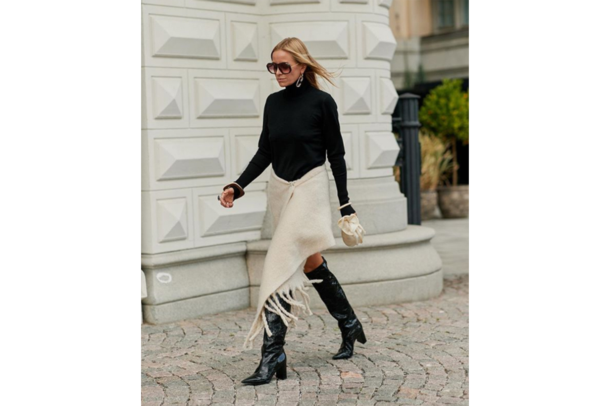 Knee-high boots white dress street style