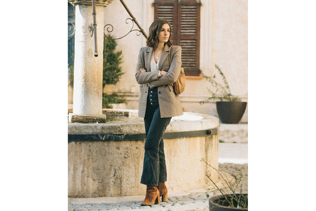 French Girl Blogger Angle Boots Blazer