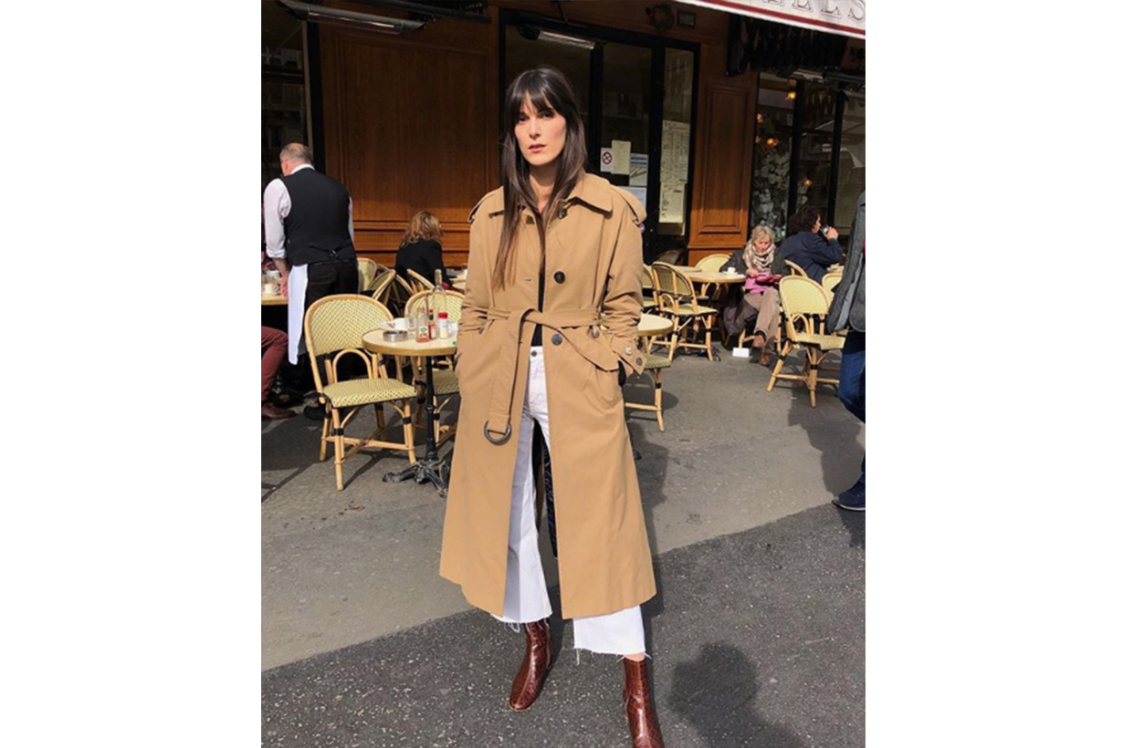 White Jeans Trench Coat Street Style