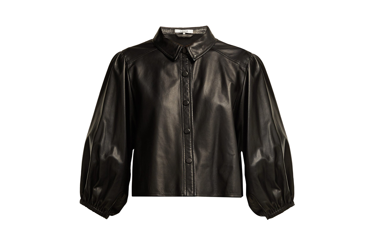 Ganni Blouson-sleeve Leather Shirt