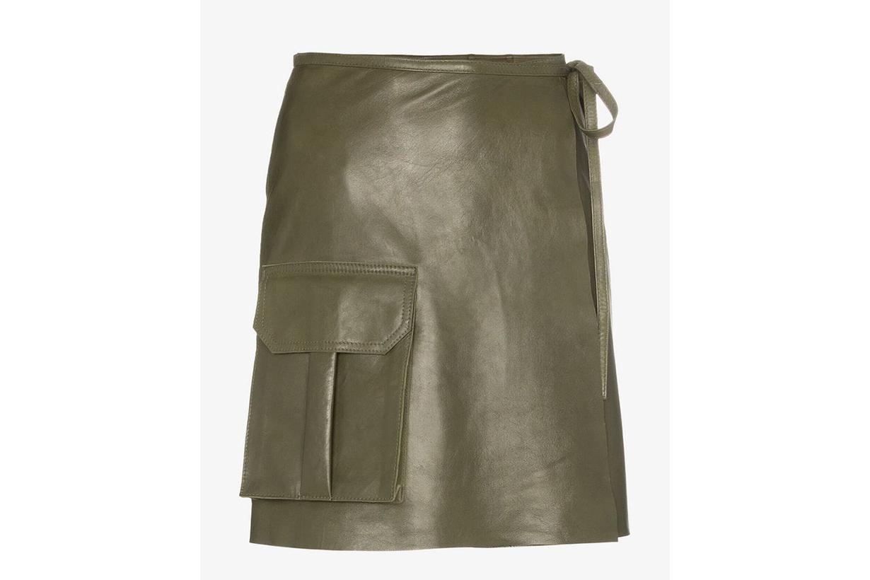 Ganni Meranti Utility Pocket Leather Wrap Skirt