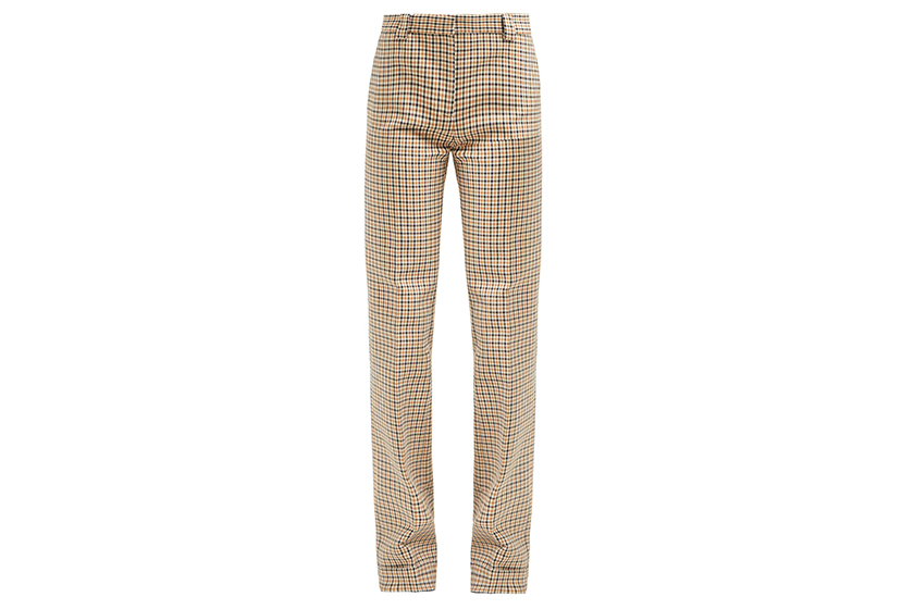Summa Gingham Cotton Blend-Twill Trousers