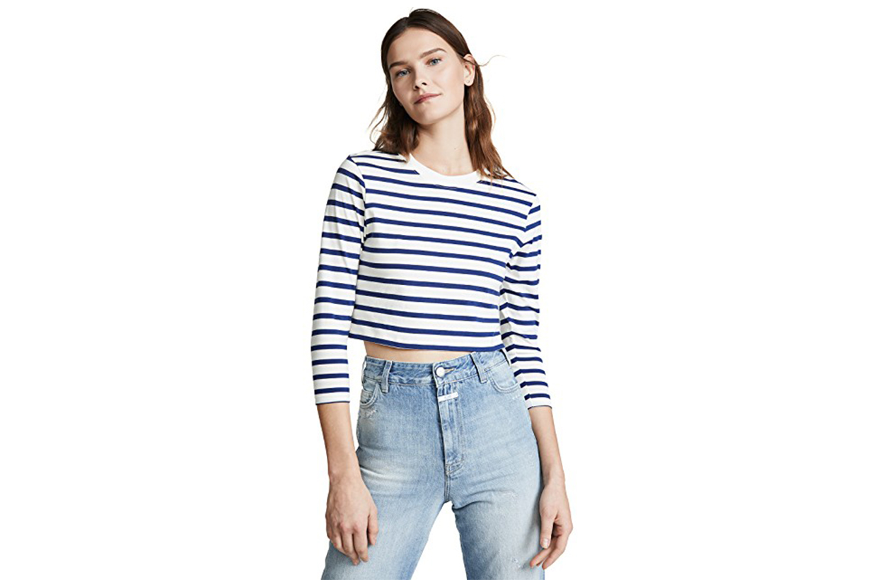 Hanes x Karla Long Sleeve Striped Crop Tee