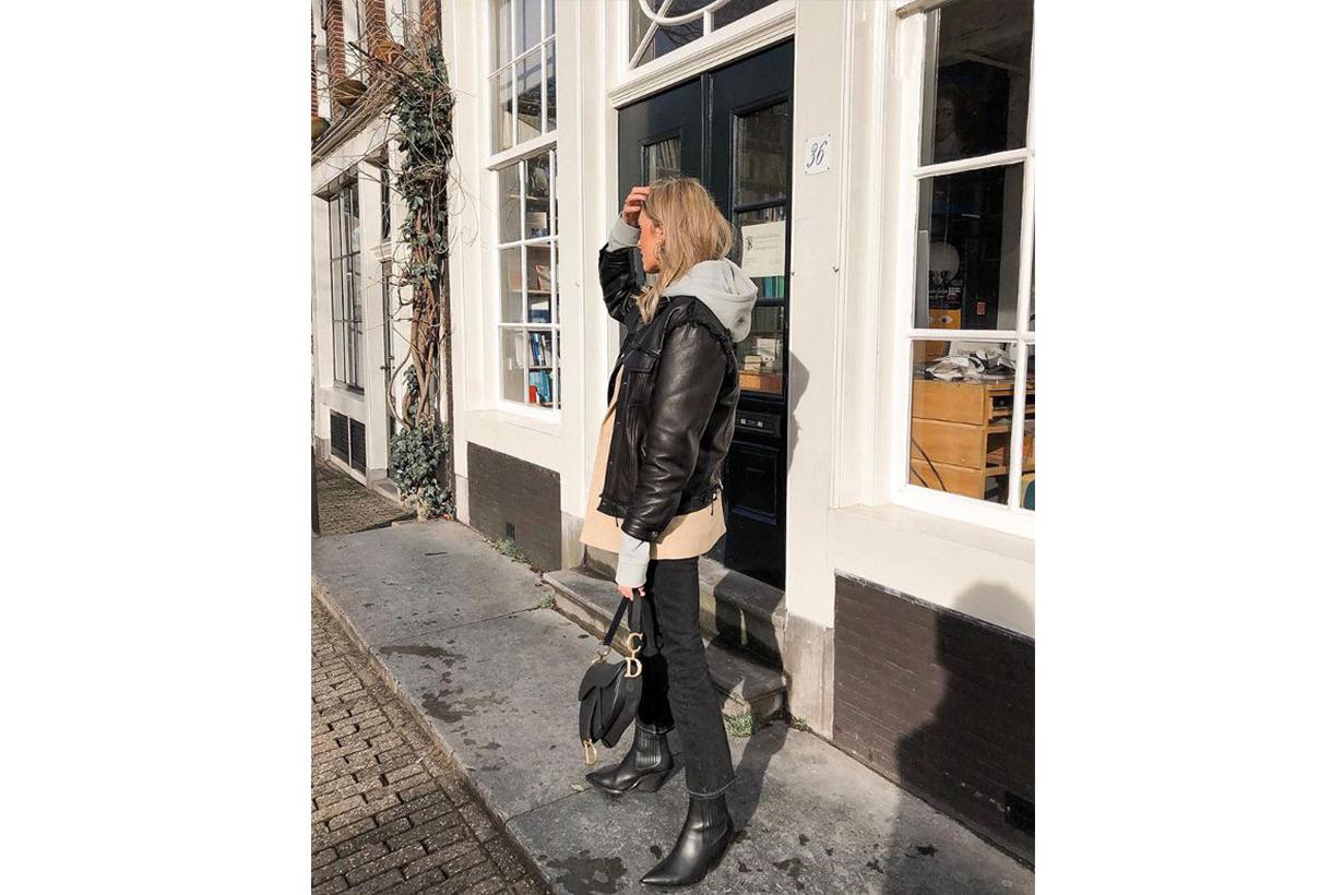 Leather Jacket Skinny Jeans Street Style