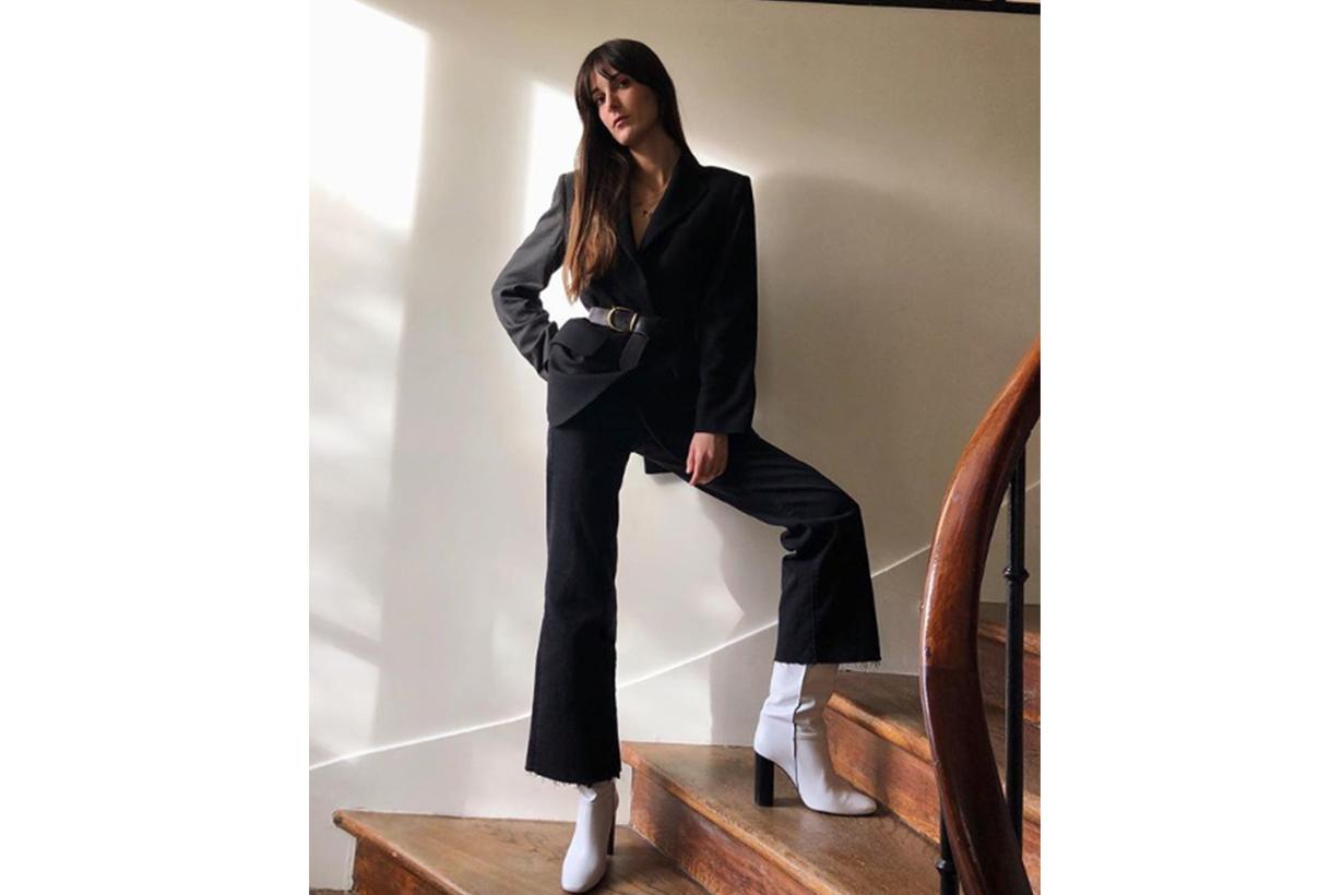 Blazer Belt Black Jeans white boots French style