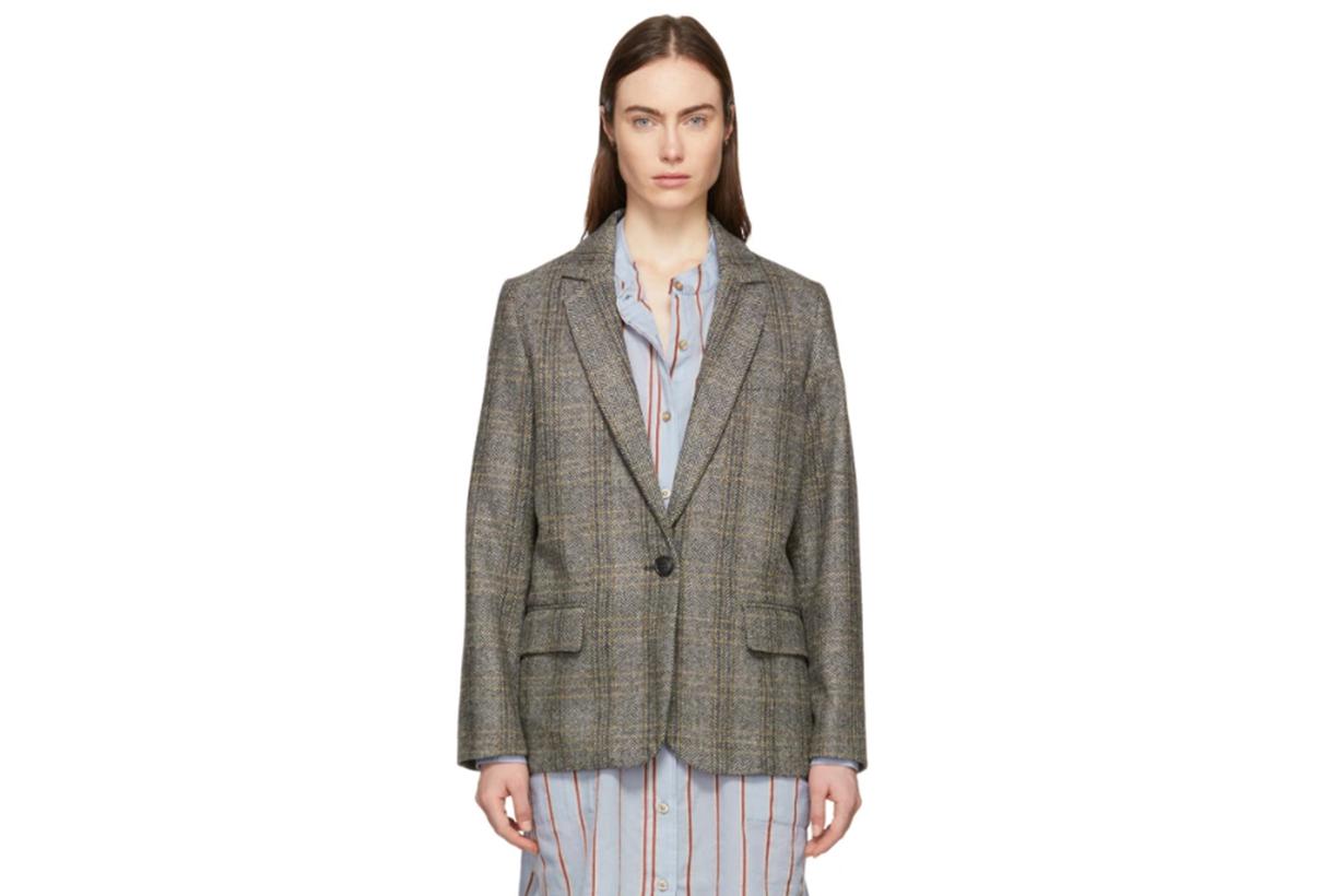 Isabel Marant Etoile Beige & Grey Charly Oversized Blazer