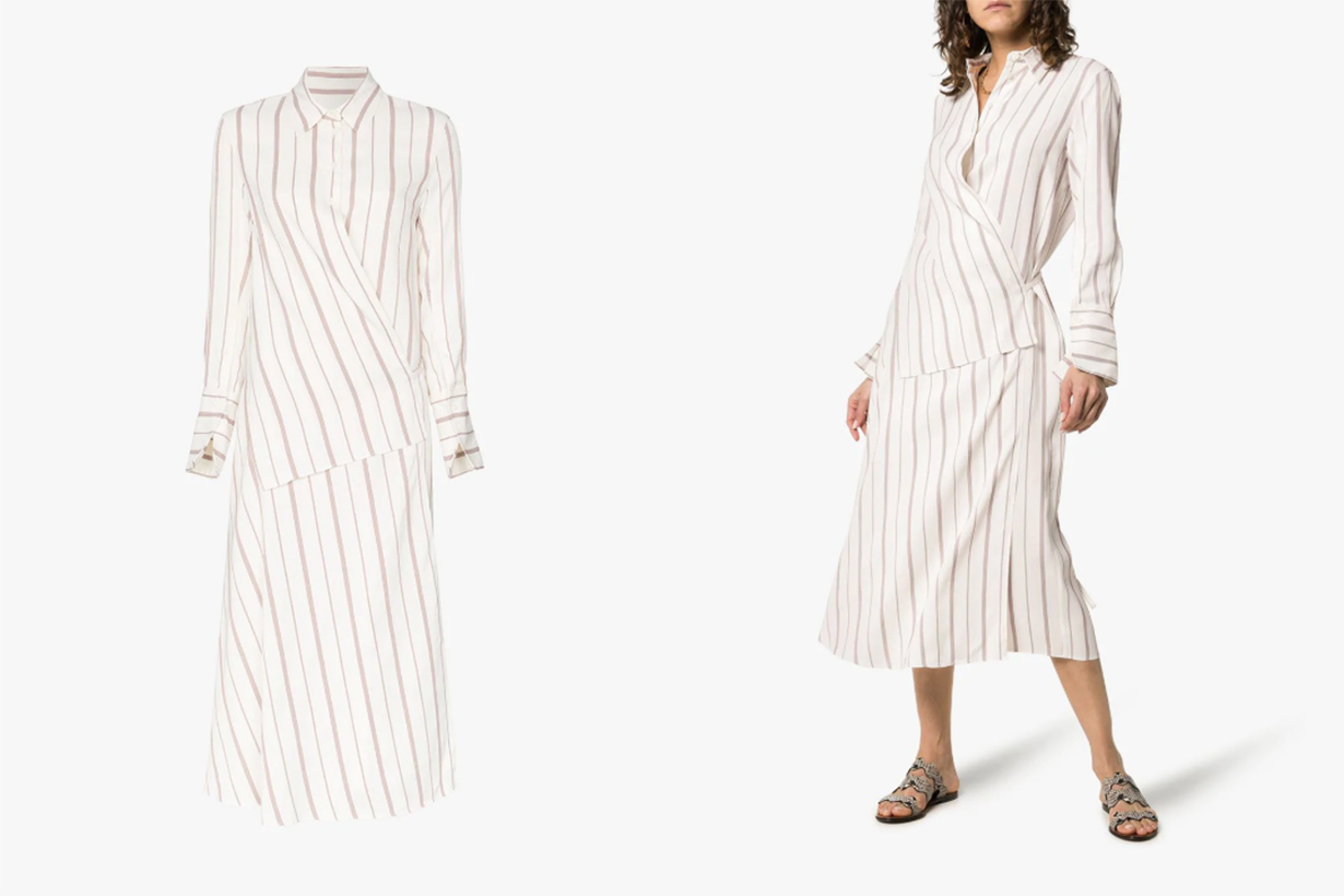 Joseph Claudi Poplin Stripe Wrap Cotton Blend Dress