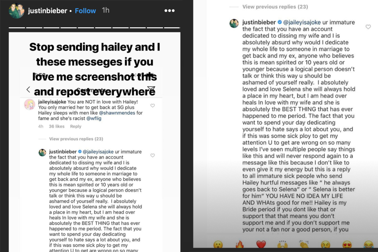 Justin Bieber Comments On Selena Gomez and Hailey Baldwin