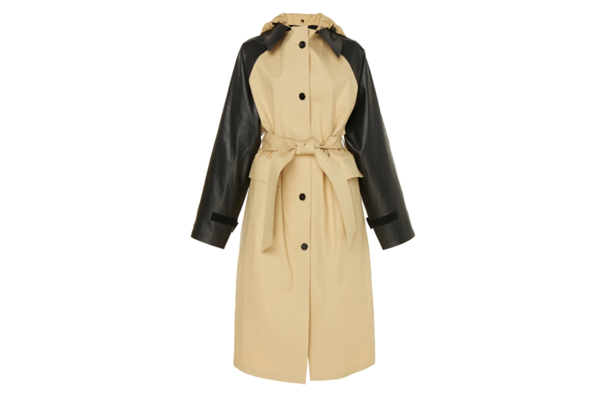 Kassl Contrast Sleeves Cotton Trench Coat
