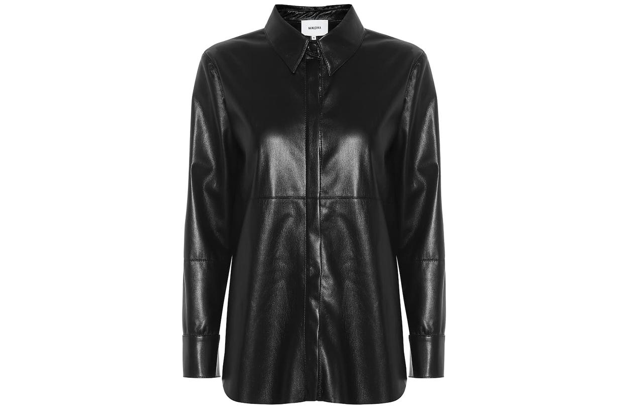 nanushka leather shirt