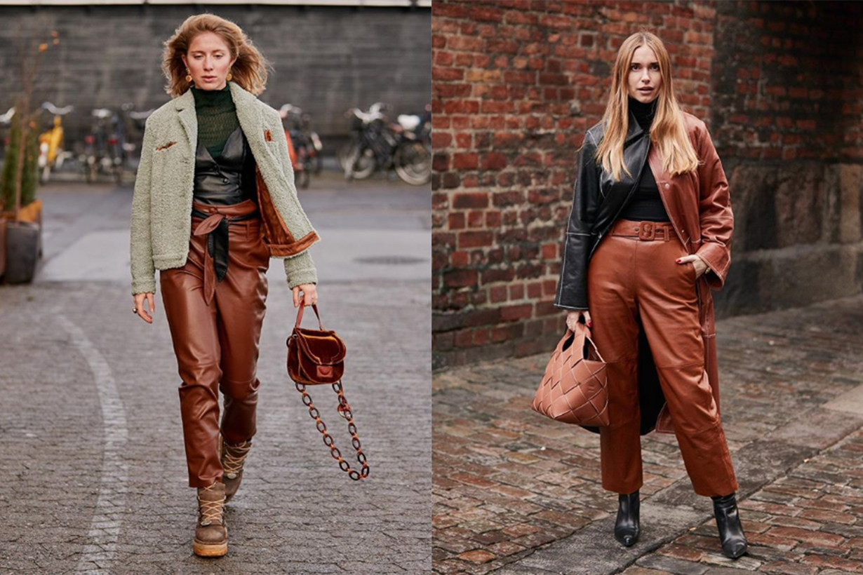 Black and Brown Leather Outfits Street Style