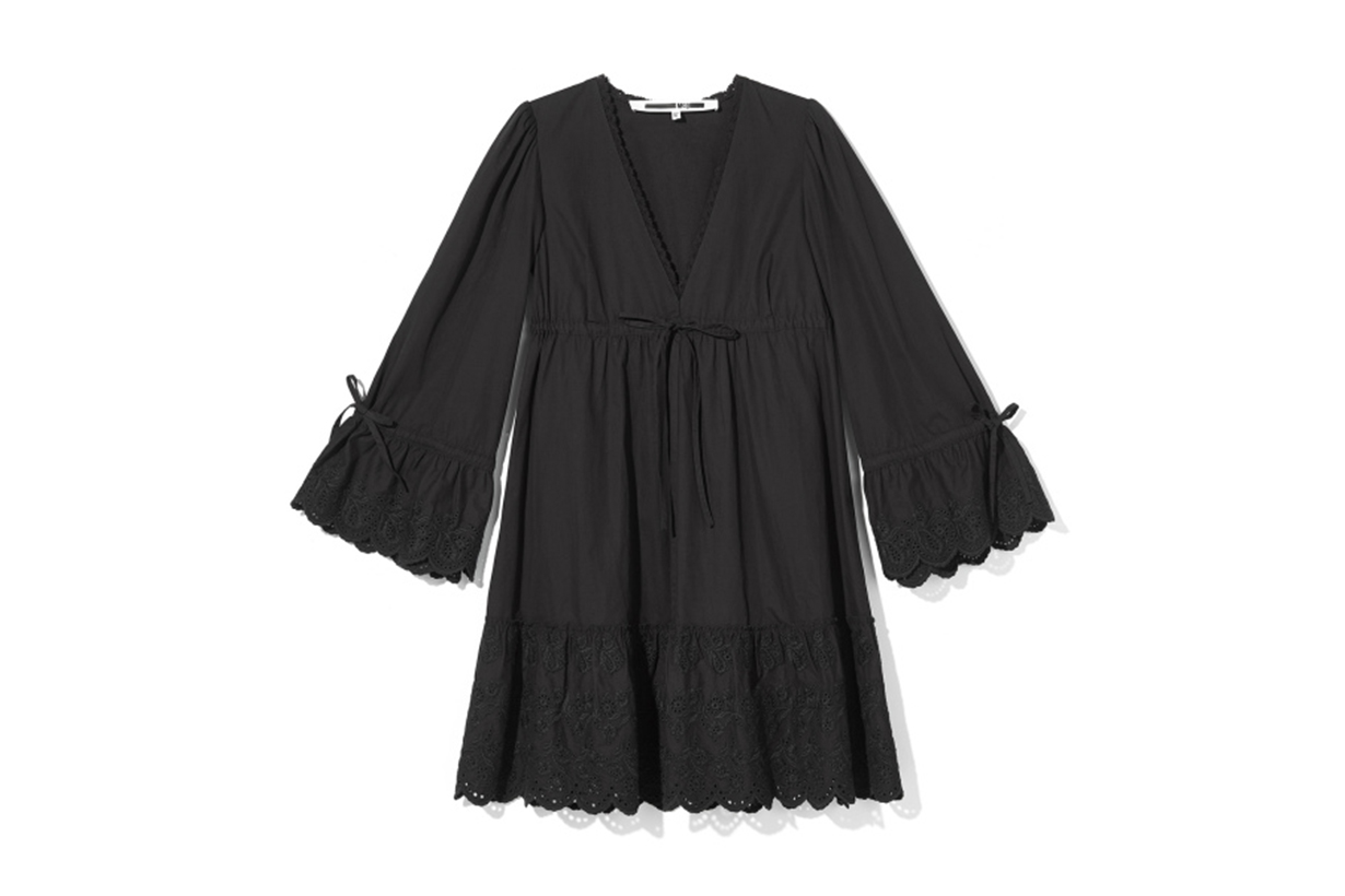 McQ Embroidered Hem Babydoll Dress