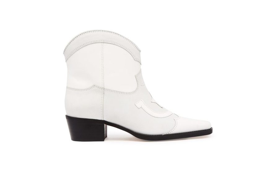 Ganni Meg Western-Style Leather Ankle Boots
