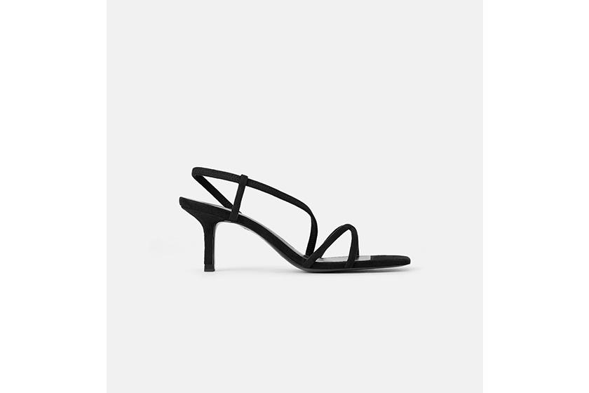 Zara Mid-Heel Sandals With Elastic Band Detail