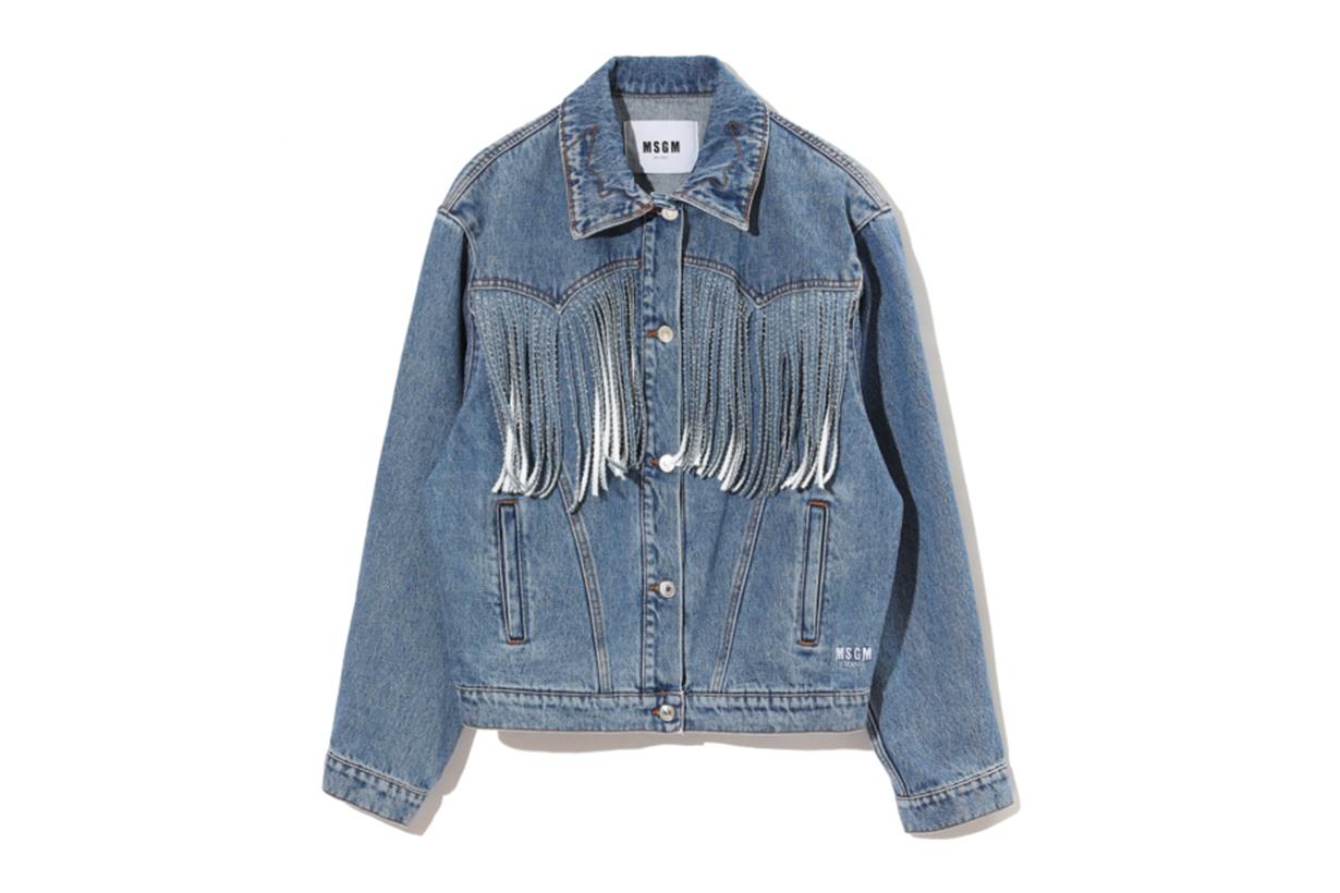 MSGM Fringe Detail Denim Jacket