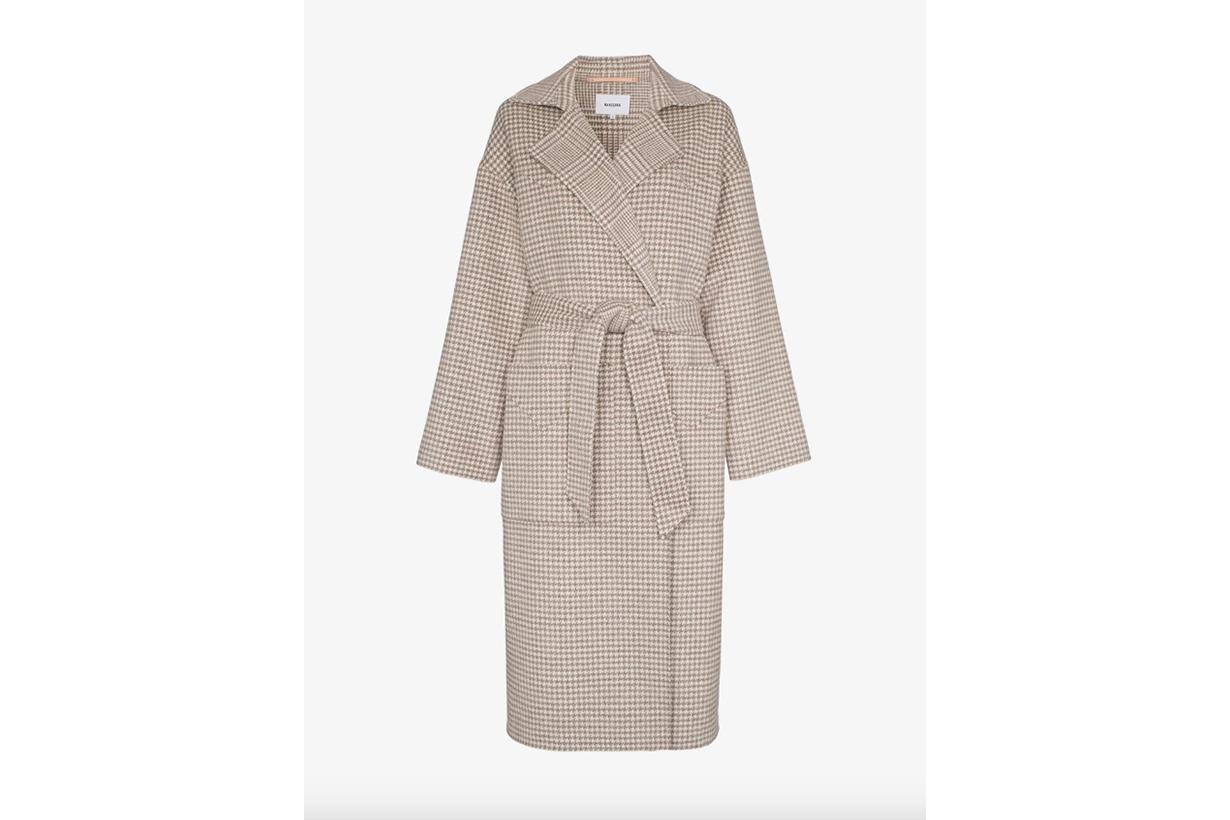 Nanushka Demi Single Breasted Houndstooth Wool Silk Blend Blazer