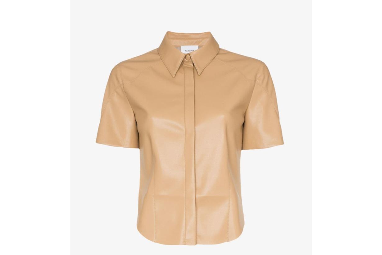 Nanushka Clare Short-Sleeved Vegan Leather Shirt