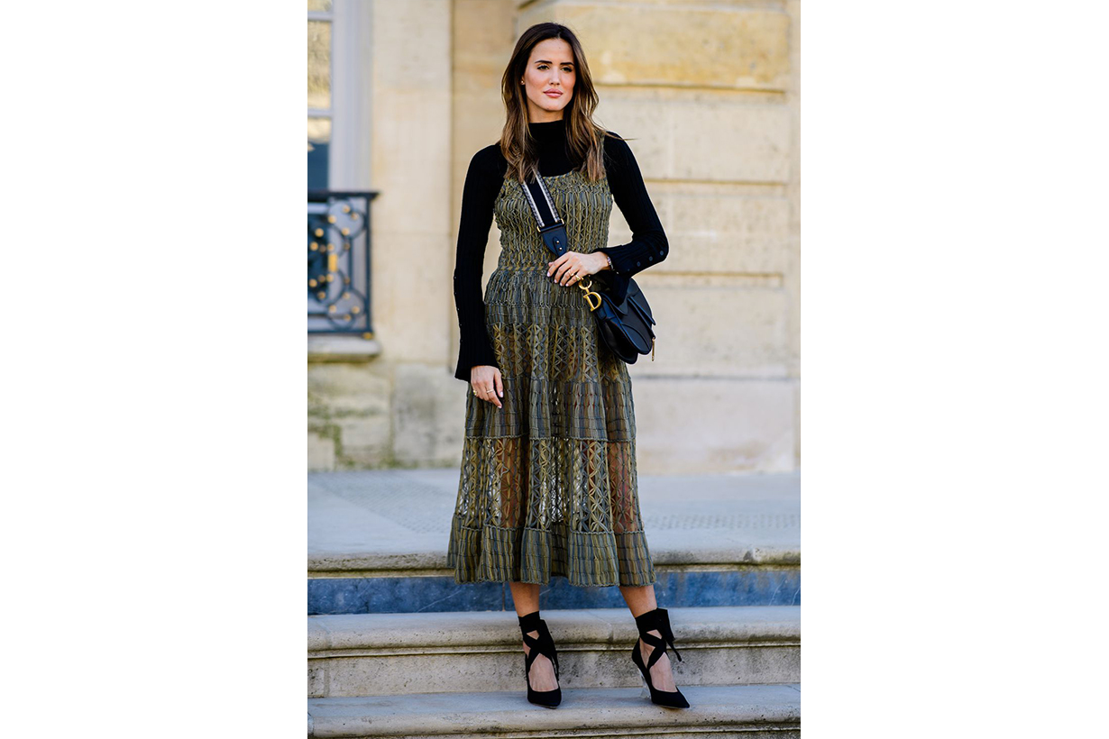 Turtleneck Printed Dress Street Style