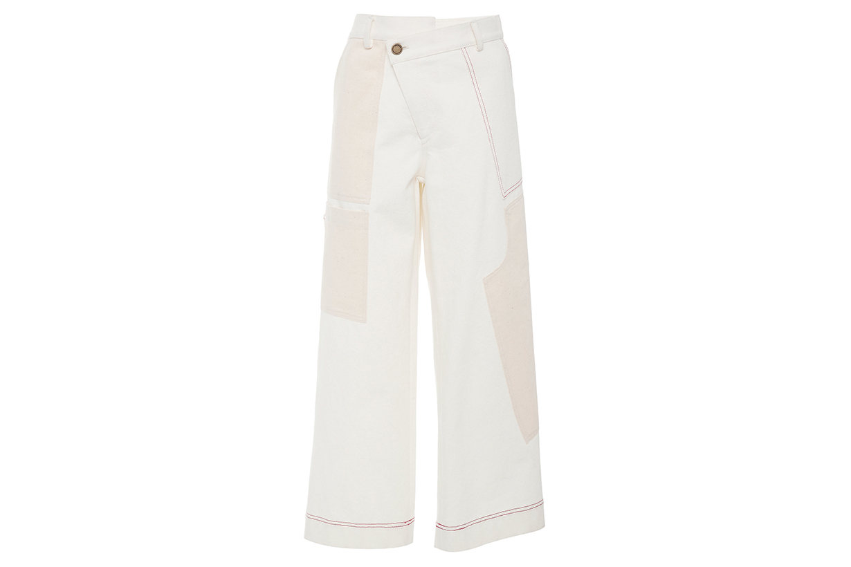 Monse Patchwork Wide-Leg Cotton-Twill Cargo Pants