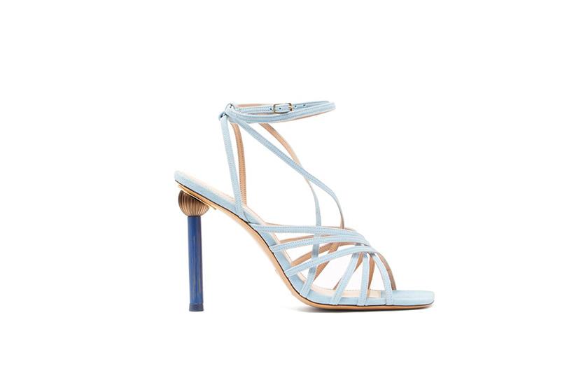 Jacquemus Pisa Mismatched Heel Suede Sandals