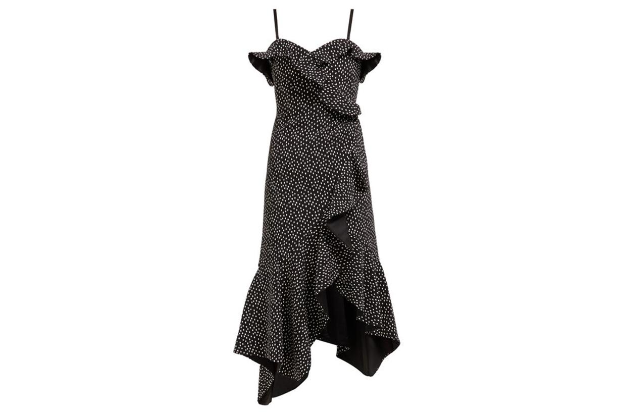 Jonathan Simkhai Polka Dot-Print Off-The-Shoulder Midi Dress