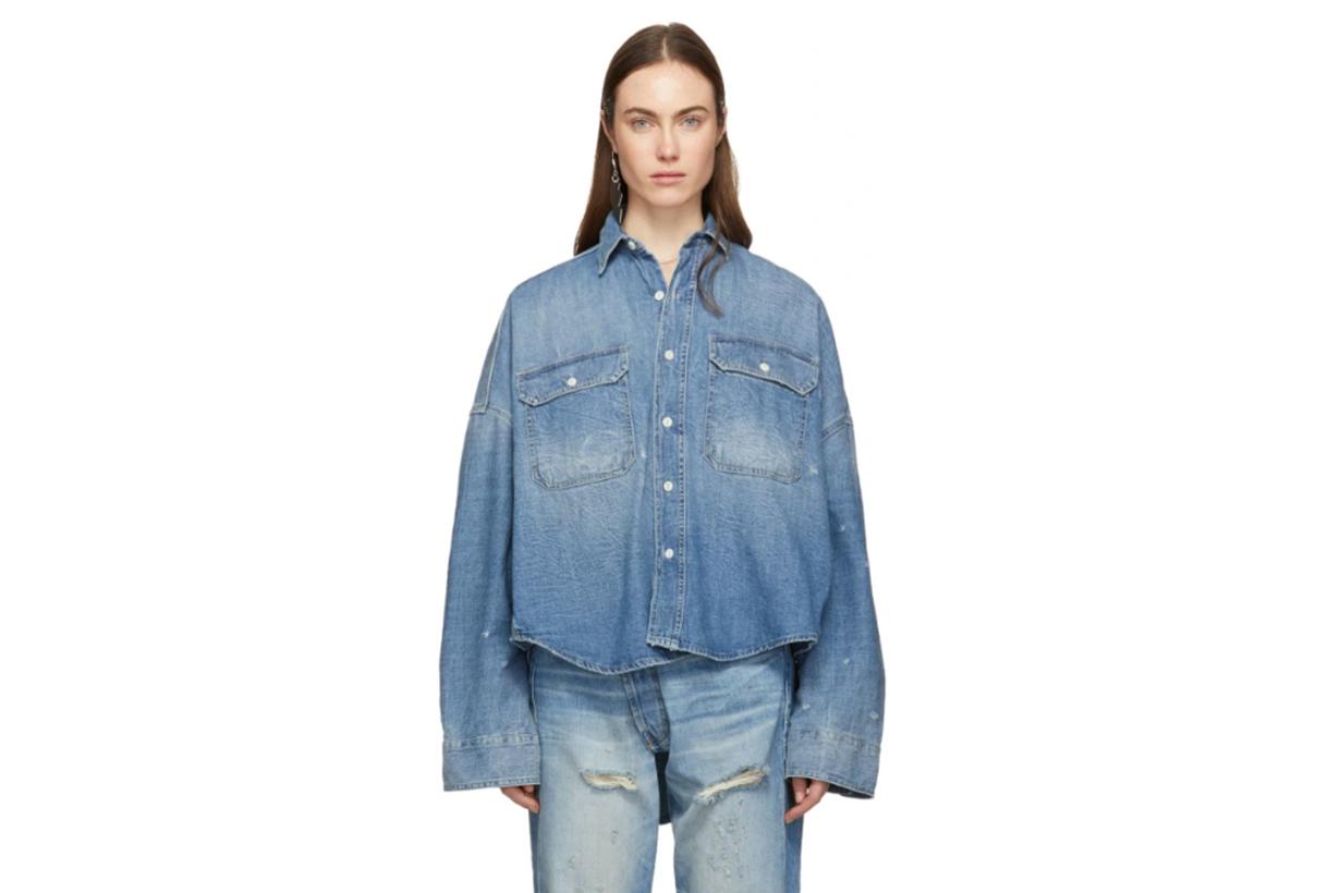 R13 Blue Denim Oversized Patti Shirt