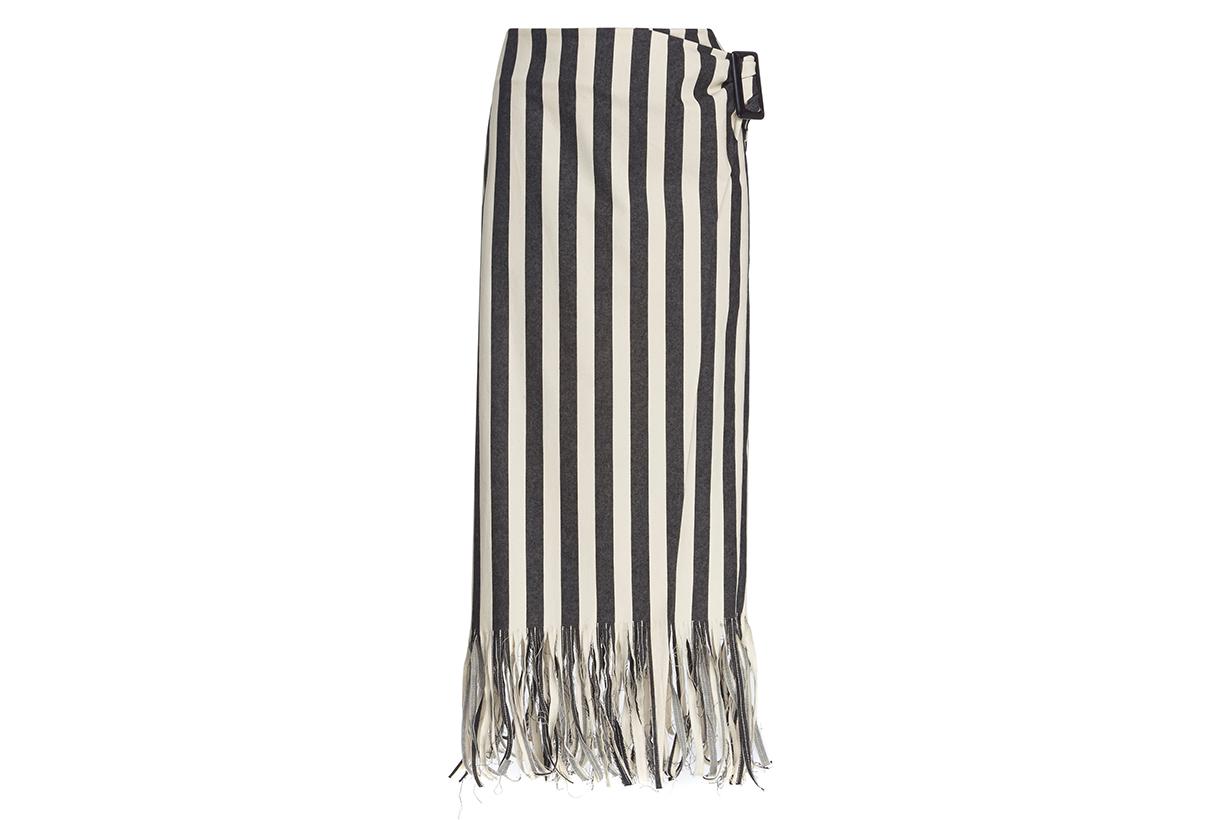 Rejina Pyo Robin Striped Fringed Denim Skirt