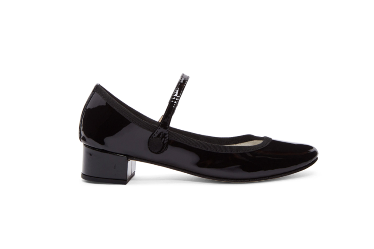 Repetto Black Patent Rose Mary-Jane Heels