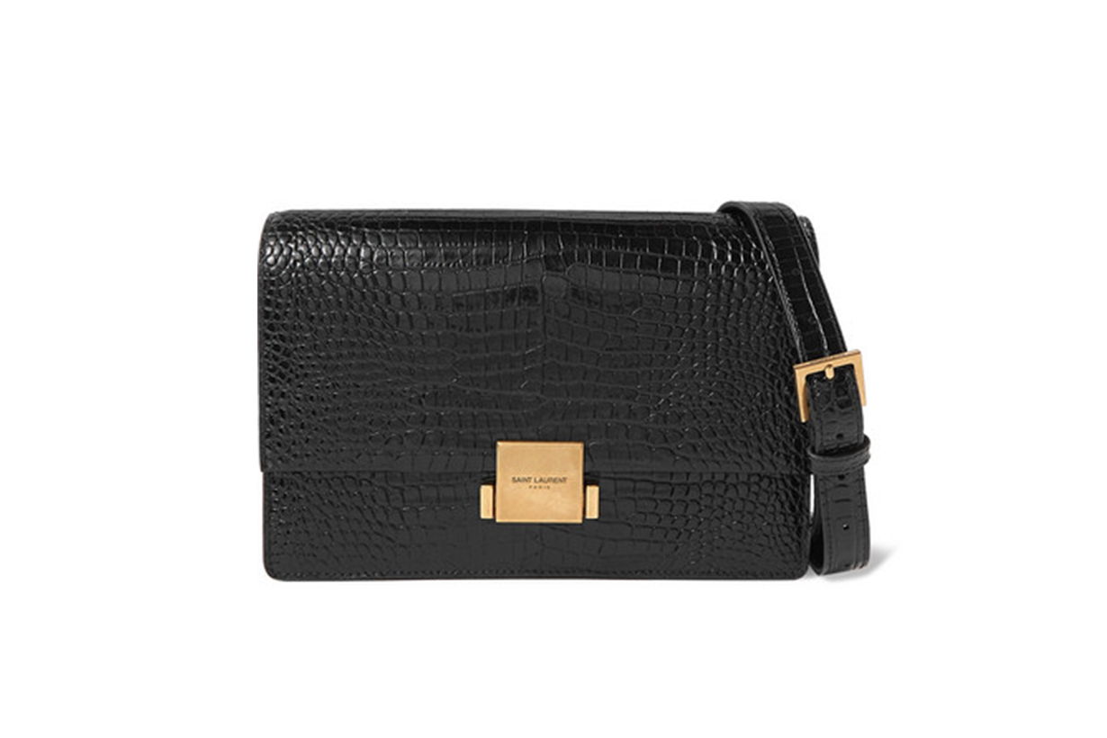 Saint Laurent Bellechasse Medium Glossed Croc-Effect Leather Shoulder Bag