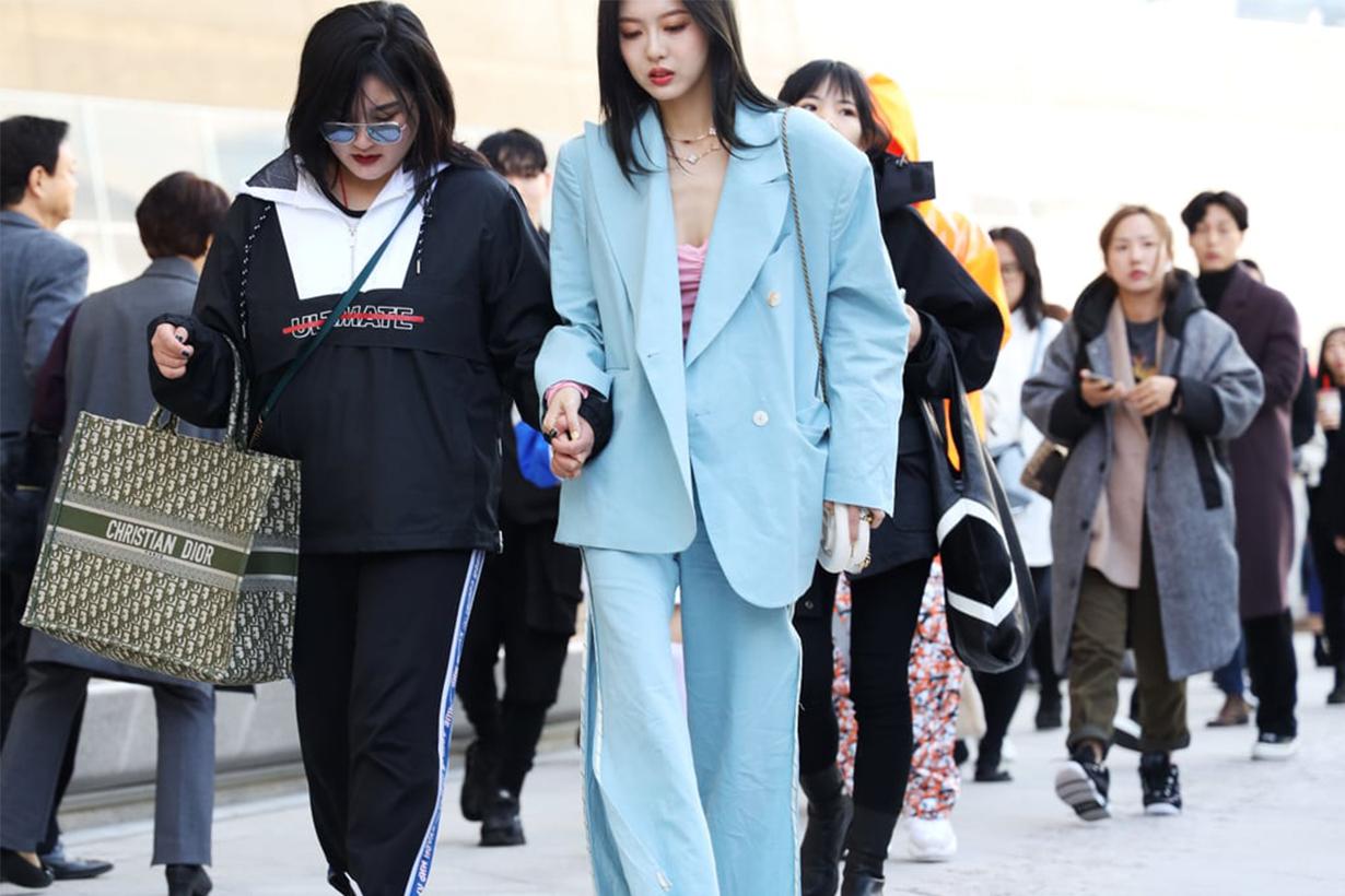 Blue Suit Blazer Korean Girl Street Style