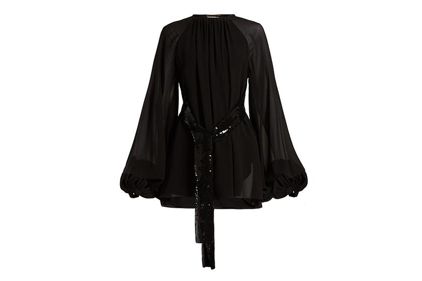 Saint Laurent Sequinned-Belt Silk Georgette Mini Dress