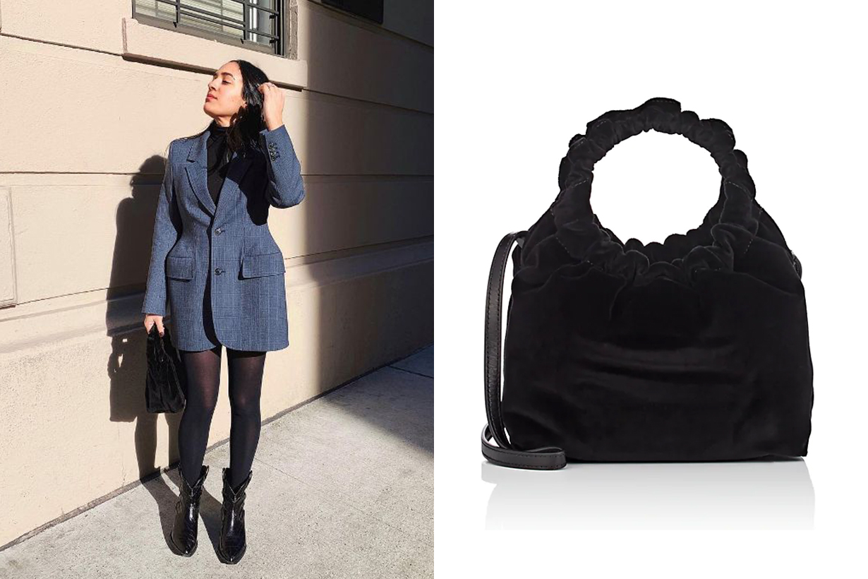The Row Double-Circle Small Velvet Bag