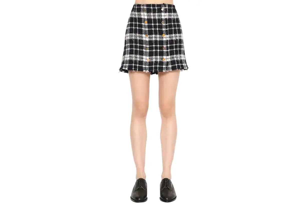 Thom Browne Frayed Plaid Tweed Mini Skirt