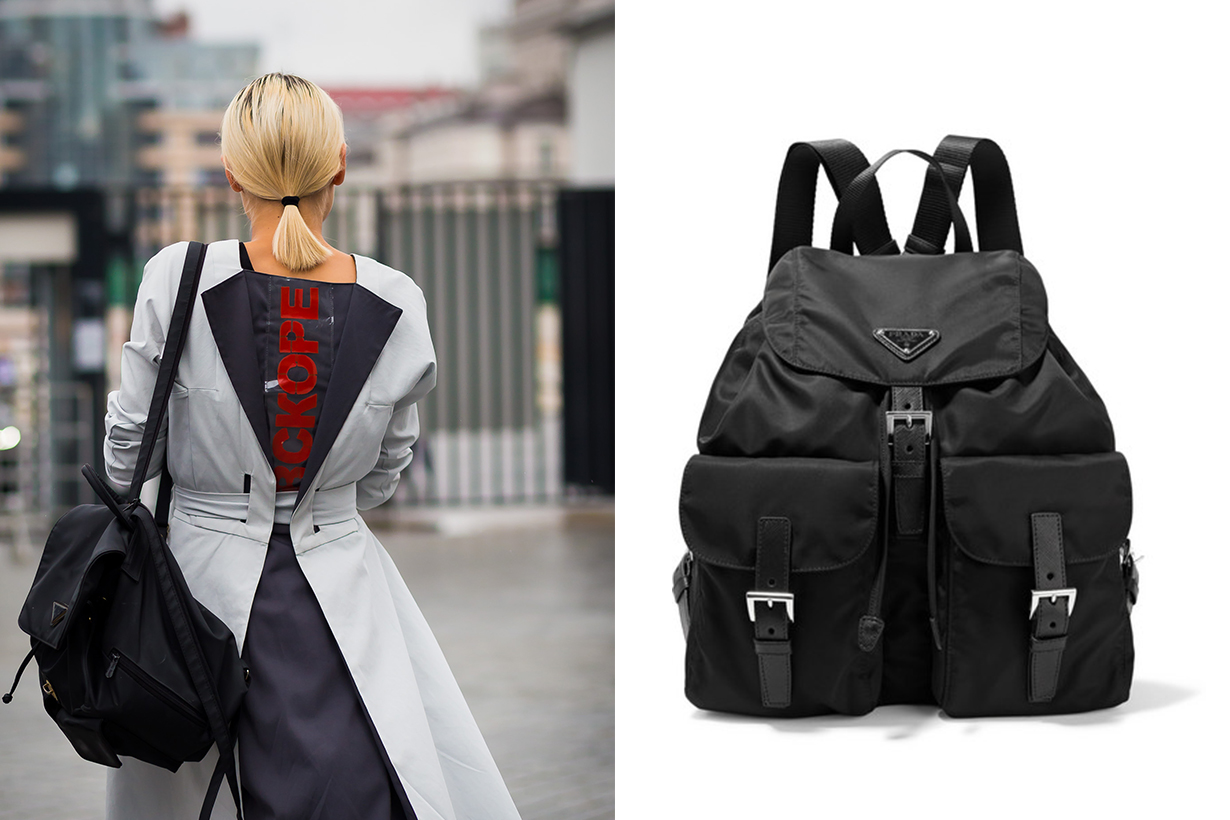 Prada Vela Large Leather-Trimmed Shell Backpack street style
