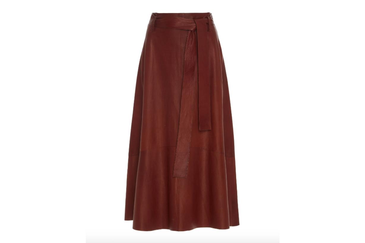 Vince High-Waisted Lamb Leather Midi Skirt