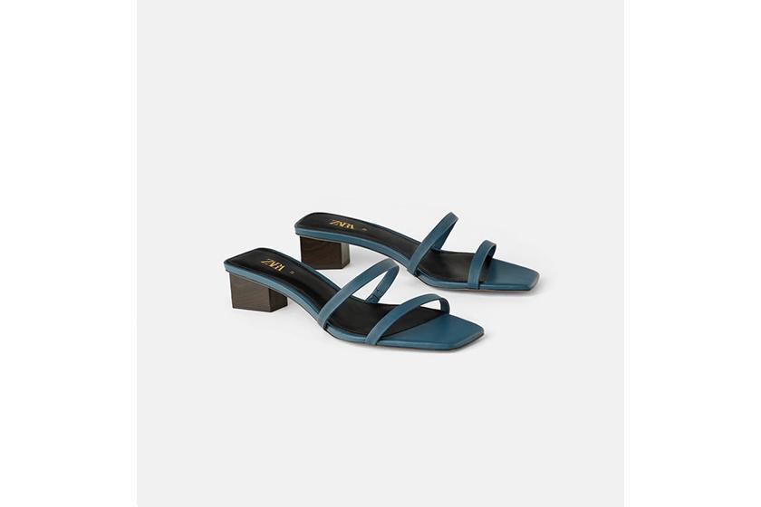 Zara Wood Effect Heel Leather Sandals