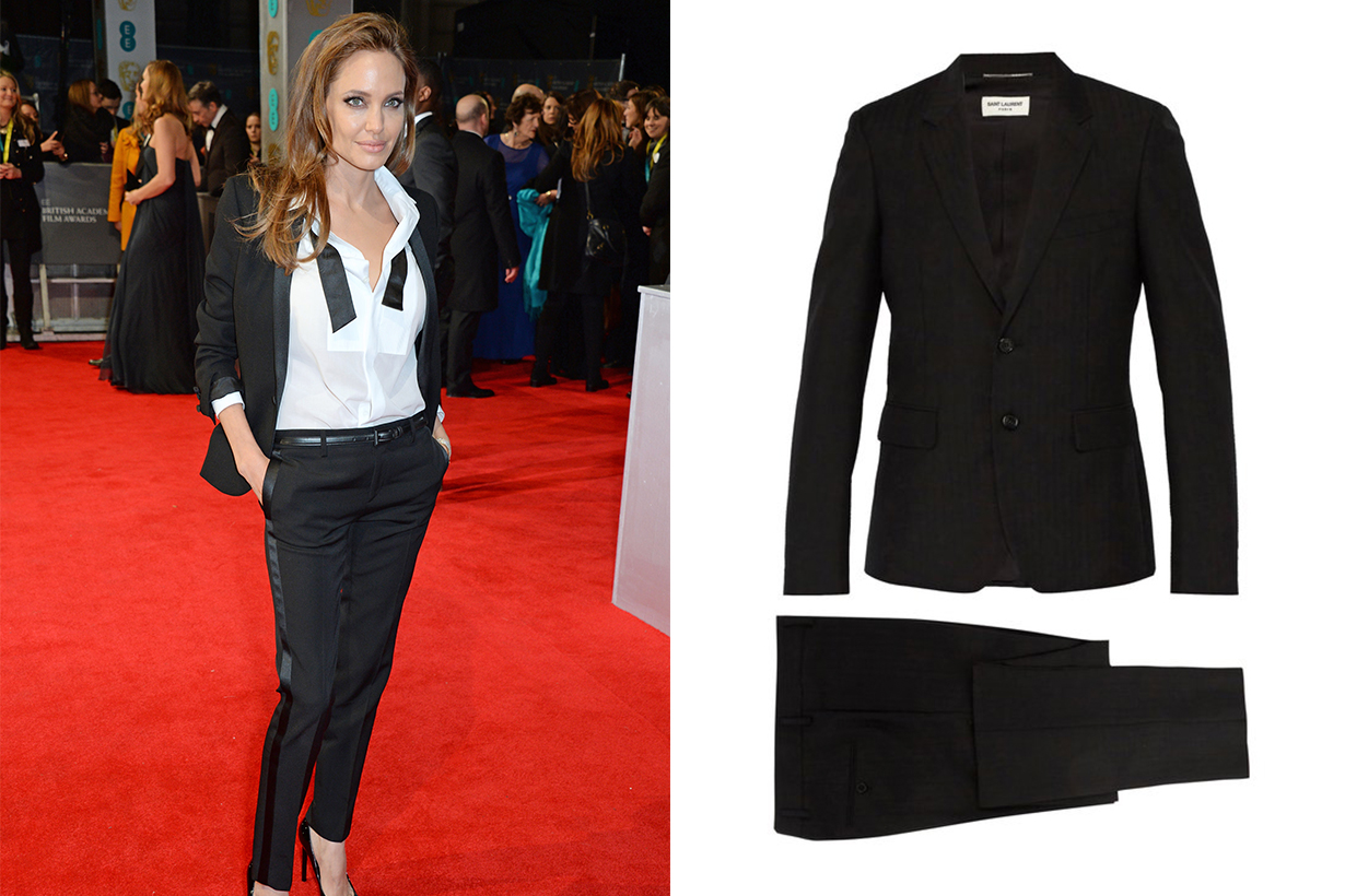 Angelina Jolie Yves Saint Laurent Slim-fit Striped Wool and Mohair-Blend Suit