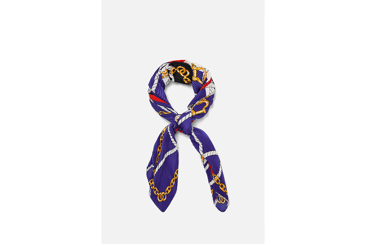 Zara Knot and Chain Printed Scarf
