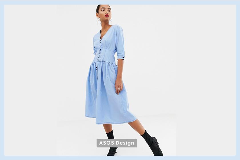 ASOS DESIGN cotton midi dress light blue