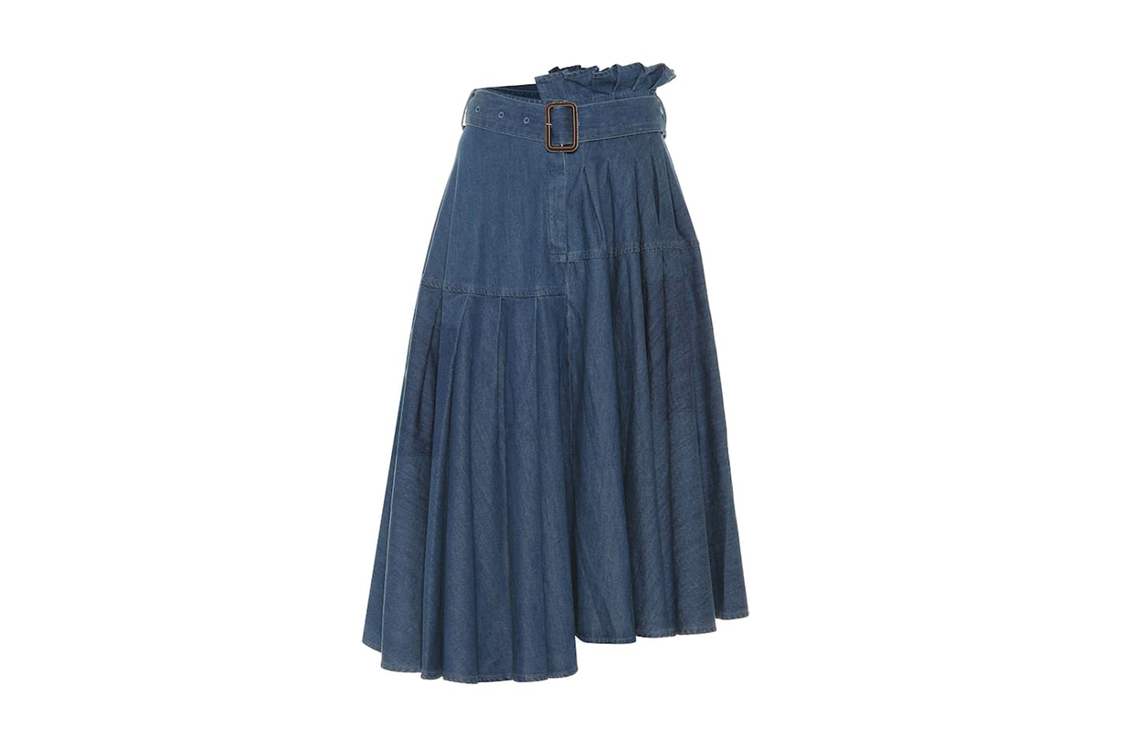 JW Anderson Asymmetric Denim Midi Skirt