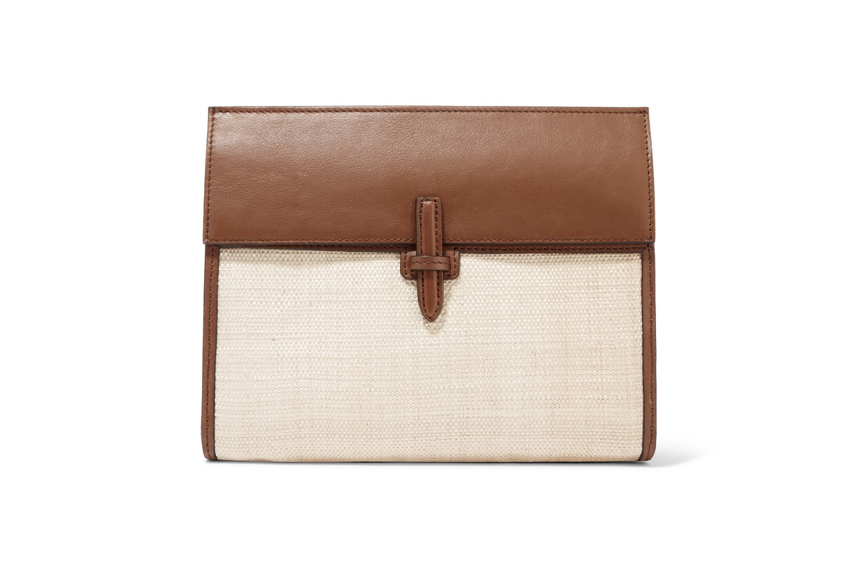 HUNTING SEASON Leather and raffia clutch