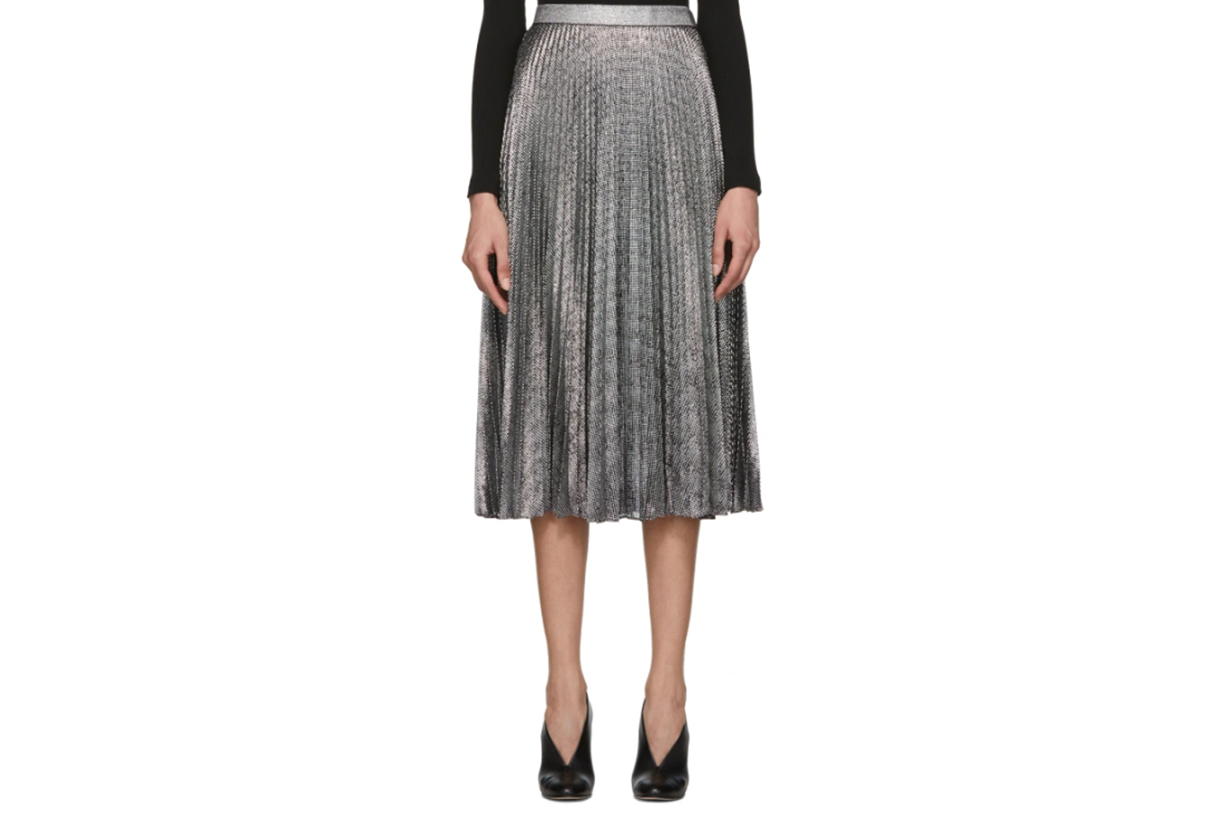 Christopher Kane Black & Silver Lamé Mesh Pleated Skirt