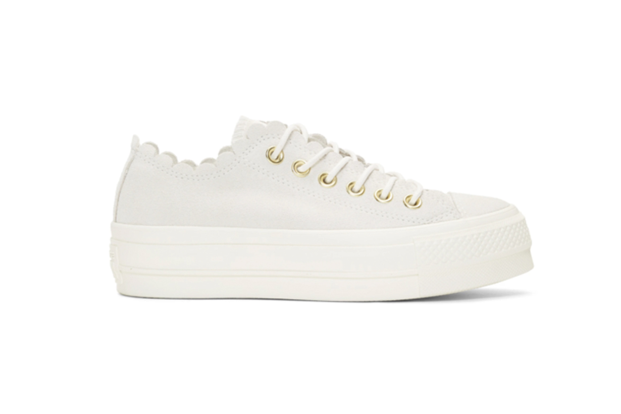 Converse Off-White Suede Chuck Taylor All Star Lift Frilly Thrills Sneakers